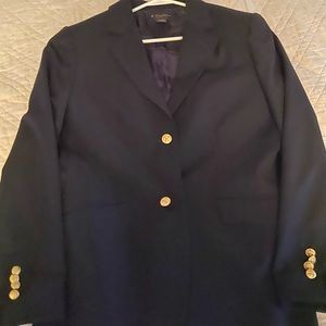 Classic women's navy blazer with gold buttons